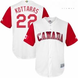 Mens Canada Baseball Majestic 22 George Kottaras White 2017 World Baseball Classic Replica Team Jersey