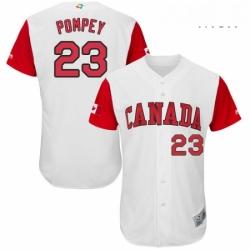 Mens Canada Baseball Majestic 23 Dalton Pompey White 2017 World Baseball Classic Authentic Team Jersey
