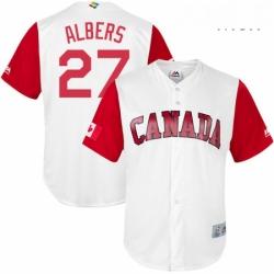 Mens Canada Baseball Majestic 27 Andrew Albers White 2017 World Baseball Classic Replica Team Jersey
