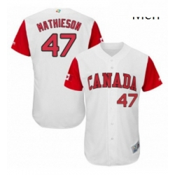 Mens Canada Baseball Majestic 47 Scott Mathieson White 2017 World Baseball Classic Authentic Team Jersey
