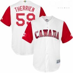 Mens Canada Baseball Majestic 59 Jessen Therrien White 2017 World Baseball Classic Replica Team Jersey
