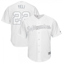Brewers 22 Christian Yelich Yeli White 2019 Players Weekend Player Jersey