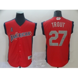 American League 27 Mike Trout Red 2019 MLB all star Game Workout Player Jersey