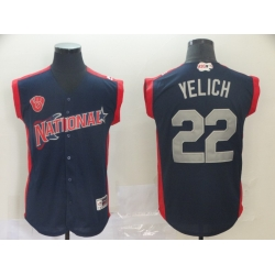 National League 22 Christian Yelich Navy 2019 MLB all star Game Player Jersey