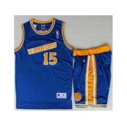 Golden State Warriors 15 Latrell Sprewell Blue Hardwood Classics NBA Jerseys Shorts Suits