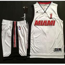 Heat #1 Chris Bosh White Throwback A Set Stitched NBA Jersey