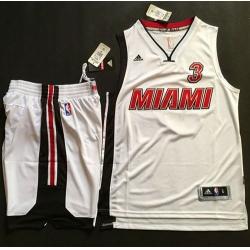 Heat #3 Dwyane Wade White Throwback A Set Stitched NBA Jersey