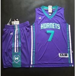 Hornets #7 Jeremy Lin Purple A Set Stitched NBA Jersey