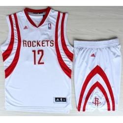Houston Rockets 12 Dwight Howard White Revolution 30 Swingman NBA Jerseys Shorts Suits