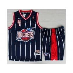 Houston Rockets 4 Charles Barkley Blue Hardwood Classics Revolution 30 NBA Jerseys Shorts Suits