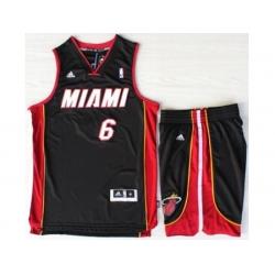 Miami Heat 6 LeBron James Black Revolution 30 Swingman NBA Jerseys Short Suits MIAMI Style