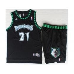 Minnesota Timberwolves 21 Kevin Garnett Black Hardwood Classics Revolution 30 NBA Jersey Short Suits