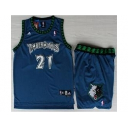 Minnesota Timberwolves 21 Kevin Garnett Blue Hardwood Classics Revolution 30 NBA Jersey Short Suits