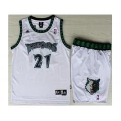 Minnesota Timberwolves 21 Kevin Garnett White Hardwood Classics Revolution 30 NBA Jersey Short Suits