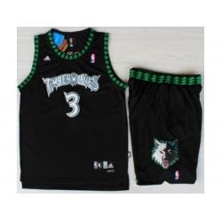 Minnesota Timberwolves 3 Stephon Marbury Black Swingman NBA Jerseys Short Suits