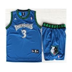Minnesota Timberwolves 3 Stephon Marbury Blue Swingman NBA Jerseys Short Suits