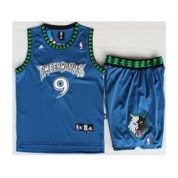 Minnesota Timberwolves 9 Ricky Rubio Blue Swingman NBA Jerseys Short Suits