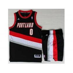 Portland Trail Blazers 0 Damian Lillard Black Revolution 30 Swingman NBA Jersey Short Suits