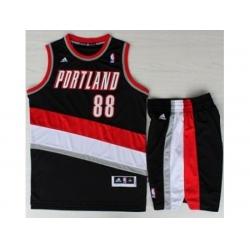 Portland Trail Blazers 88 Nicolas Batum Black Revolution 30 Swingman NBA Jersey Short Suits