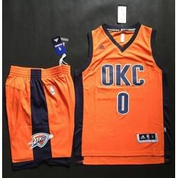 Thunder #0 Russell Westbrook Orange Alternate A Set Stitched NBA Jersey