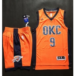 Thunder #9 Serge Ibaka Orange Alternate A Set Stitched NBA Jersey