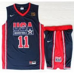 USA Basketball 1992 Olympic Dream Team Blue Jerseys & Shorts Suits 11# Karl Malone