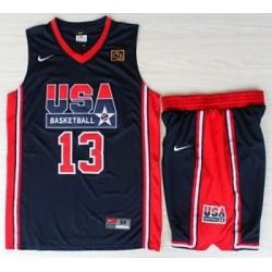 USA Basketball 1992 Olympic Dream Team Blue Jerseys & Shorts Suits 13# Chris Mullin
