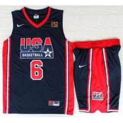 USA Basketball 1992 Olympic Dream Team Blue Jerseys & Shorts Suits 6# Patrick Ewing