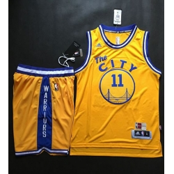 Warriors #11 Klay Thompson Gold Throwback The City A Set Stitched NBA Jersey