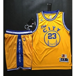 Warriors #23 Draymond Green Gold Throwback The City A Set Stitched NBA Jersey