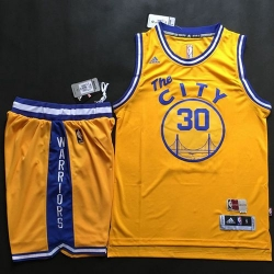 Warriors #30 Stephen Curry Gold Throwback The City A Set Stitched NBA Jersey