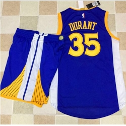 Warriors #35 Kevin Durant Blue A Set Stitched NBA Jersey