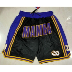 Men Los Angeles Lakers 8 24 Kobe Bryant Black Mamba Black Just Don Swingman Throwback Shorts