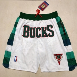 Men's Milwaukee Bucks White Pocket Shorts
