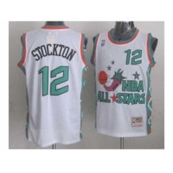 NBA 96 All Star #12 Stockton White Jerseys