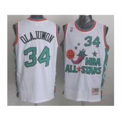 NBA 96 All Star #34 Olajuwon White Jerseys