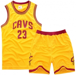 youth Cleveland Cavaliers 23# Lebron James Yellow Suit Sets
