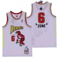 Men B&R Remix Jersey Hawks 6 Zone White Throwback Jersey