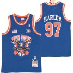 Men B&R Remix Jersey New York Kicks 97 Harlem Blue Throwback Jersey