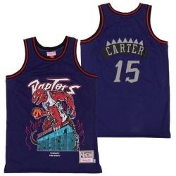 Men Raptors 15 Vince Carter Skull Edition Purple Throwback Jersey