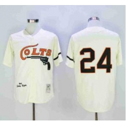 NFL Colts 24 Throwback White Cream Jersey