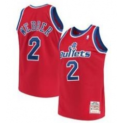 Men Bullets Chris Webber Red 2 Mitch Ness NBA Jersey