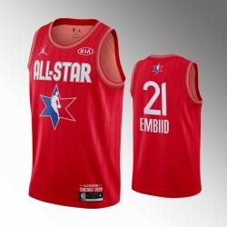 76ers 21 Joel Embiid Red 2020 NBA All Star Jordan Brand Swingman Jersey