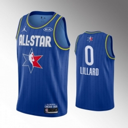Blazers 0 Damian Lillard Blue 2020 NBA All Star Jordan Brand Swingman Jersey