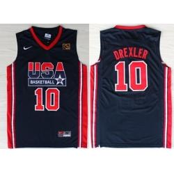 1992 Olympics Team USA 10 Clyde Drexler Navy Blue Swingman Jersey