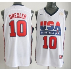 1992 Olympics Team USA 10 Clyde Drexler White Swingman Jersey