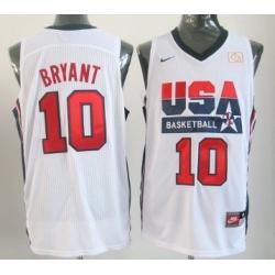1992 Olympics Team USA 10 Kobe Bryant White Swingman Jersey