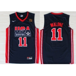 1992 Olympics Team USA 11 Karl Malone Navy Blue Swingman Jersey