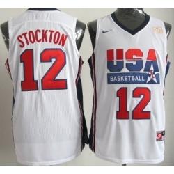 1992 Olympics Team USA 12 John Stockton White Swingman Jersey