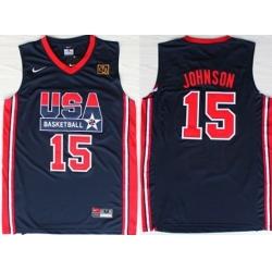 1992 Olympics Team USA 15 Magic Johnson Navy Blue Swingman Jersey